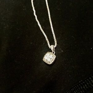 """1/10 ct sterling silver 925 stamped 15"""" necklace"""